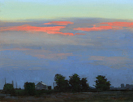 Marc Bohne - Oil Landscape Paintings - Dawn Sky Near Ballina, 8 x 10 inches, oil on panel